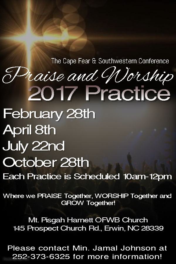 Conference Praise Team Practice @ Mt. Pisgah Harnett OFWB Church | Erwin | North Carolina | United States